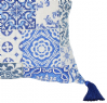 "Moroccan Cushion Cover Blue Tile Design Silk Tassels 50cm x 50cm  20""x20"" (CGC5)"